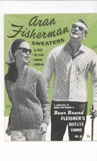 Aran Fisherman Sweaters Knit by Bear Brand Fleishers Botany Yarns Vol. 84 Vintage