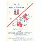 Spirit Of Tomorrow from 4 H Cherrry Dessert Contest Cookbook Regional New York