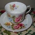 Cup And Saucer Elizabethan Pink Yellow Purple Flowers Gold Trim Bone China England