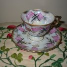Cup And Saucer Deco Purple With Black Gold Trim Footed Ornate Handle Royal Sealy China Japan