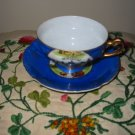 Cup And Saucer Montreal Canada Souvenir Vivid Blue With Gold Trim Japan ESD