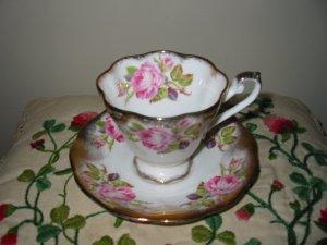 Cup And Saucer Royal Standard Pink Rose Gold Trim 2528 Made England