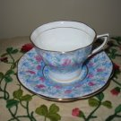 Cup And Saucer Pink Flowers Blue With Gold Trim Rosina Made England 5156