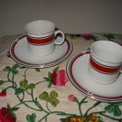 Lot Of 2 Mini Cup And Saucer Red And Black With Gold Trim China