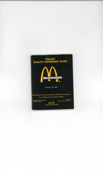 mcdonalds pocket quality reference guide july 1988 rh ecrater com GDB Pocket Reference Guide pocket quality reference guide mcdonalds