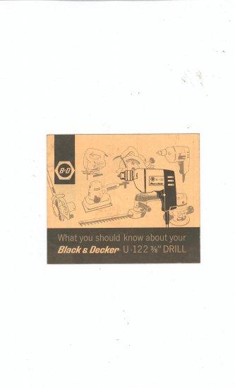 Black & Decker Drill U-122 Owners Manual Vintage U 122