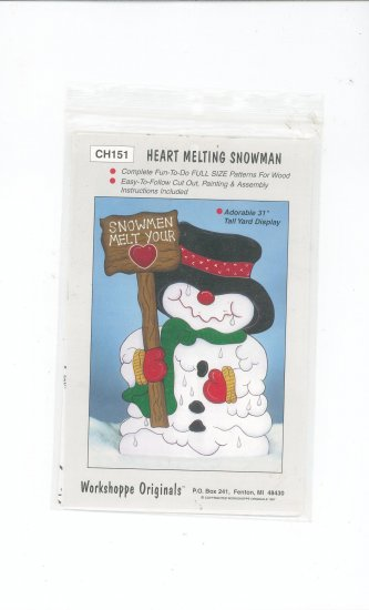 Heart Melting Snowman Pattern CH151 by Workshoppe Originals For Wood