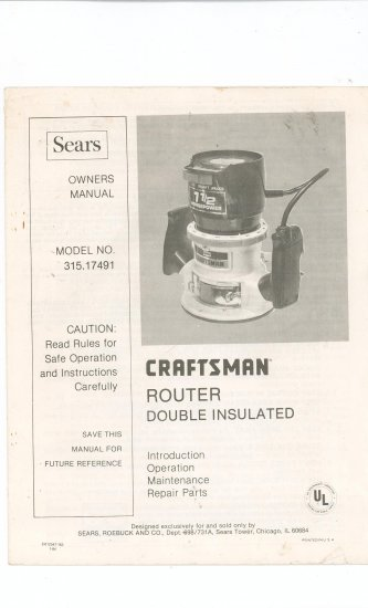 sears craftsman router model 315 17491 manual 315 17491 rh ecrater com Sears Craftsman Router 315 174710 Router Crafter Manual