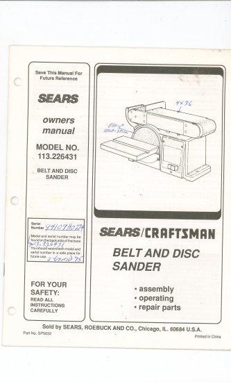 Sears Craftsman Belt & Disc Sander 113.226431  113 226431 Owners Manual