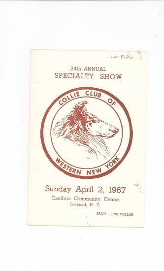 Collie Club Of Western New ork 24th Annual Specialty Show Catalogue Catalog Vintage