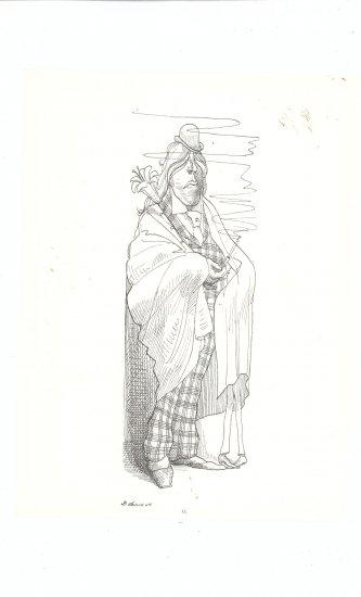 Caricature by David Levine Large Size Vintage