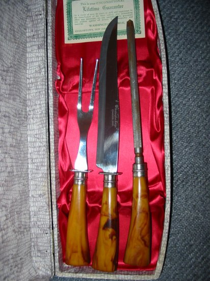 Washington Forge Vintage 3 Piece Carving Set Complete With Original Box And Lifetime Guarantee Card