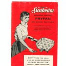 Sunbeam Controlled Heat Automatic Frypan Cookbook Model RM & RL Manual Vintage