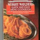 Weight Watchers Quick & Easy Menu Cookbook  Silver Anniversary 0453010156