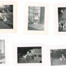 Vintage Photo Lot  6 Asst Child Baby Stroller Rocking Horse Diaper With Bottle Wash Tub Plus B&W