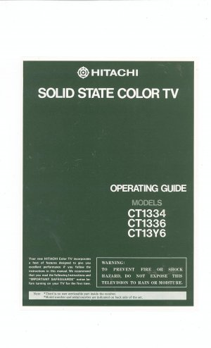 6ae50c30aa0b ... Array - hitachi solid state color tv ct1334 ct1336 ct13y6 owners manual  rh foundtreasuresden ecrater com