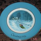 Avon Christmas Plate 1976 Bringing Home The Tree Vintage With Box