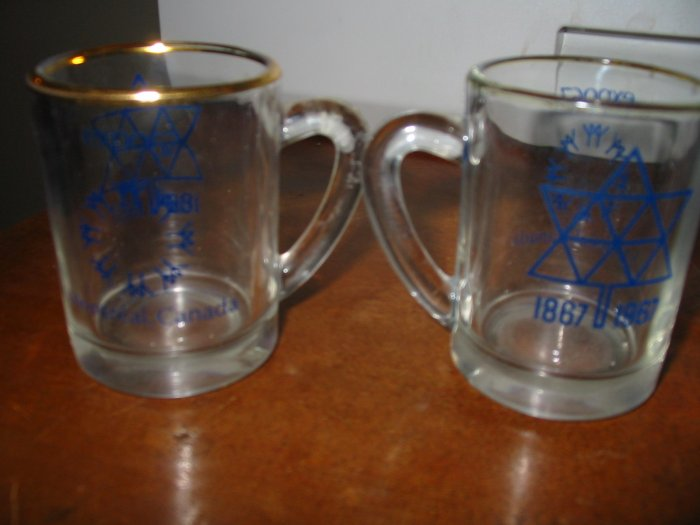 Lot of 2 Pair Souvenir Expo 1967 Montreal Canada Handled Shot Glass / Mini Mug
