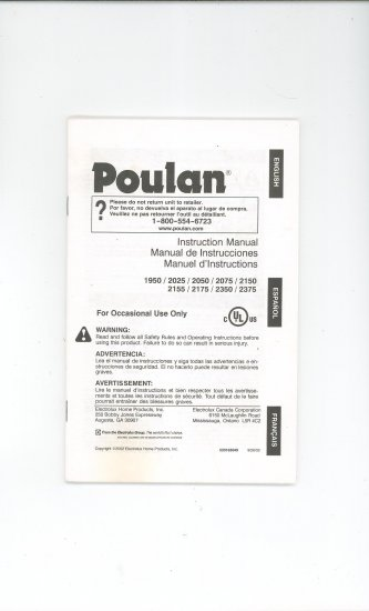 Poulan Owners Manual Models 1950 2025 2050 2075 2150 2155 2175 2350 2375 Not PDF