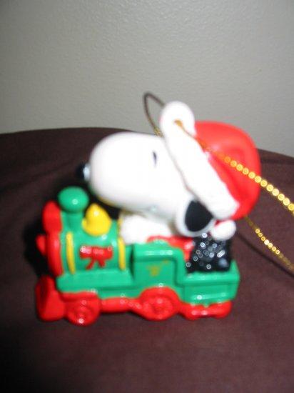 Snoopy On Train Christmas Ornament