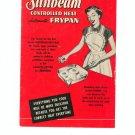 Sunbeam Controlled Heat Automatic Frypan Cookbook Manual Vintage