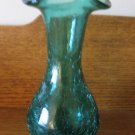 Crackle Glass Wide Flute Vase Green / Teal  Hand Blown