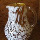 Splat Glass Pitcher Gold / Amber With White Clear Applied Handle Hand Blown