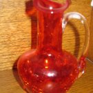Crackle Glass Fluted Pitcher Red / Orange With Clear Applied Handle Hand Blown