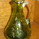 Crackle Glass Fluted Pitcher Green With Clear Applied Handle Hand Blown