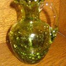 Crackle Glass Ruffled Handled Vase Green With Clear Applied Handle Hand Blown