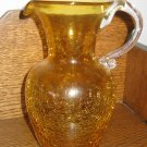 Crackle Glass Pitcher Amber / Gold With Clear Applied Handle Hand Blown
