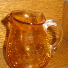 Crackle Glass Pitcher Amber / Gold Unique Shape With Clear Applied Handle Hand Blown