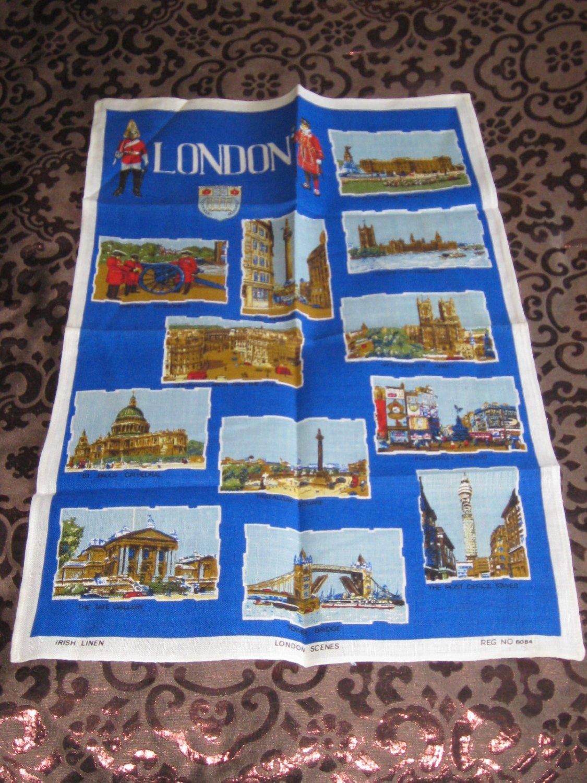Wonderful Souvenir London Scenes Tea Towel Irish Linen Reg Number 6084 Very Vibrant