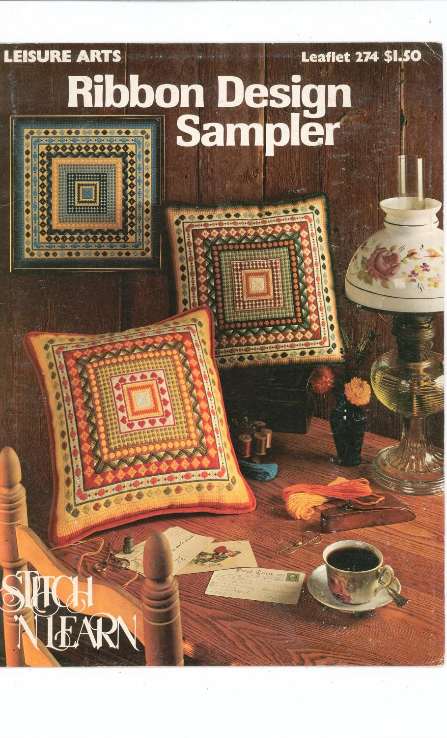 Ribbon Design Sampler Stitch 'N Learn Needlepoint Leisure Arts 274