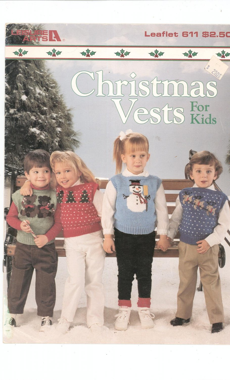 Christmas Vests For Kids Knitting Leisure Arts 611