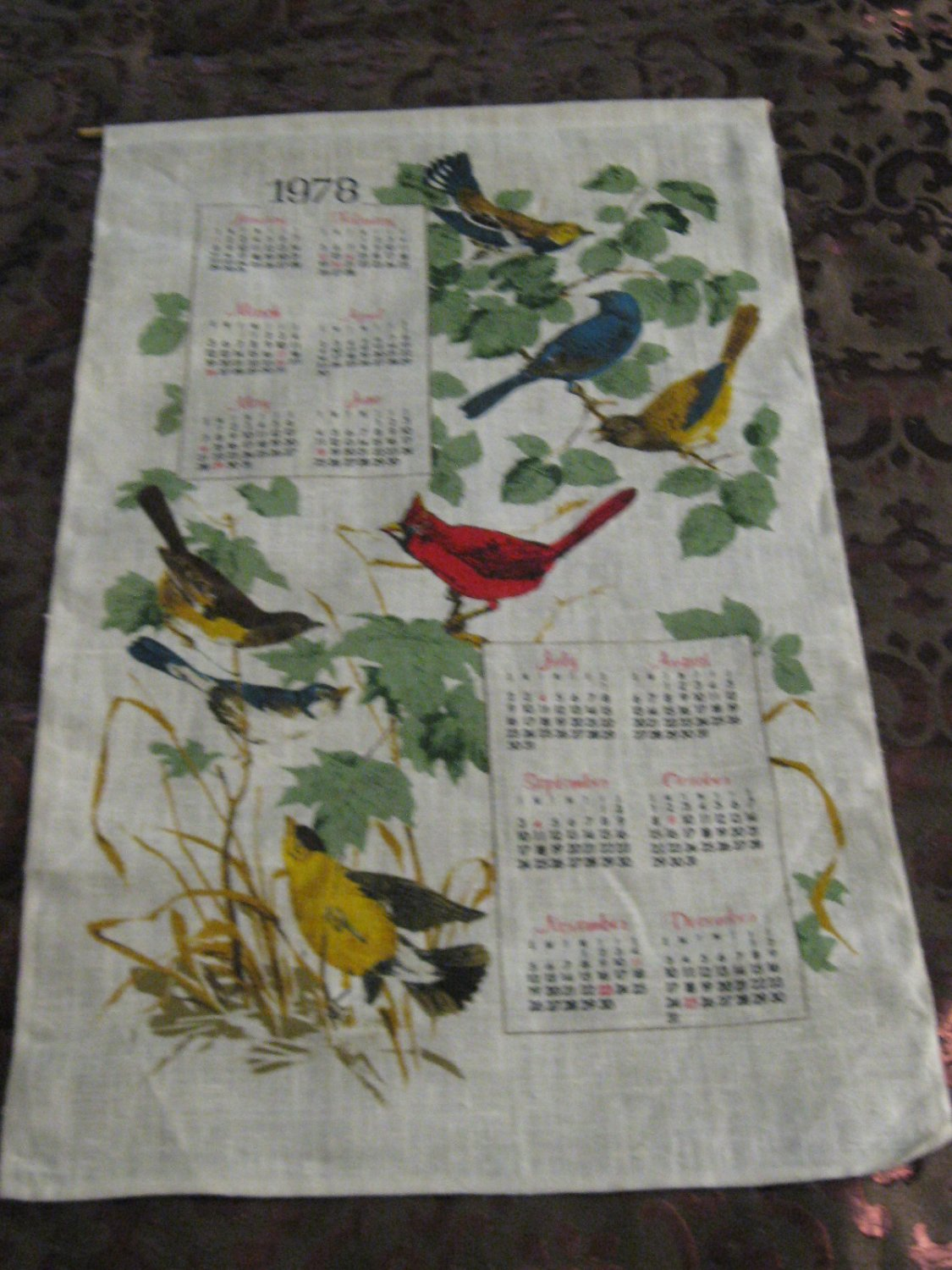 Lot Of 9 Assorted Fabric Wall Calendars Vintage Plus Linen?