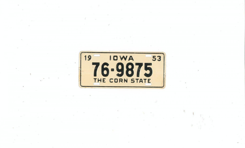Vintage 1953 Iowa Miniature License Plate General Mills ?