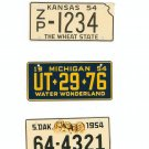 Lot Of 3 1954 License Plates Miniature Kansas Michigan South Dakota General Mills