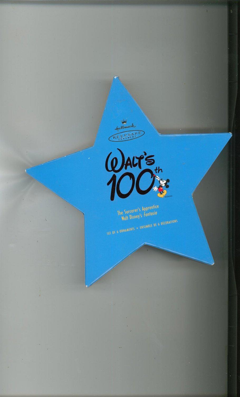 Hallmark Keepsake Walt's 100th Set Of 6 Ornaments With Box Fantasia Sorcerer's Disney 2001