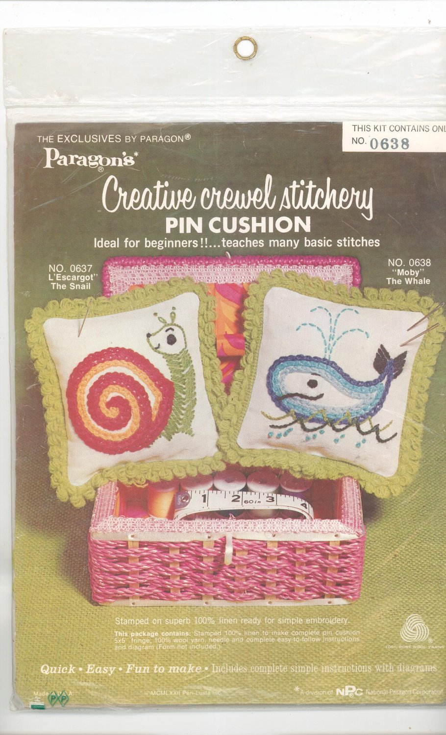 "Vintage Paragon ""Moby"" The Whale Creative Crewel Stitchery Pin Cushion # 0638"