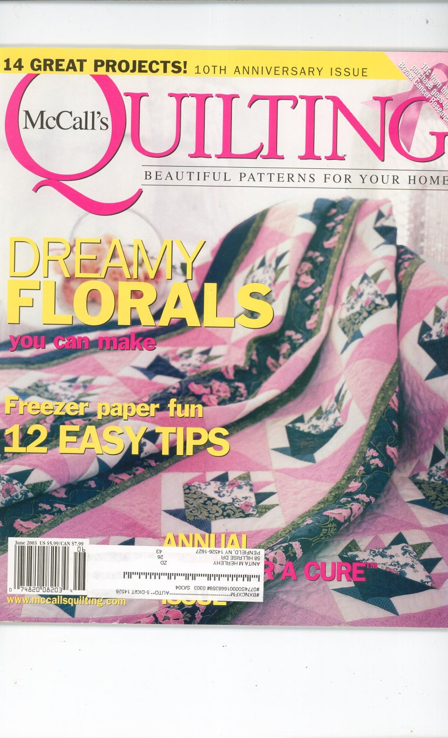 McCall's Quilting Magazine Back Issue June 2003