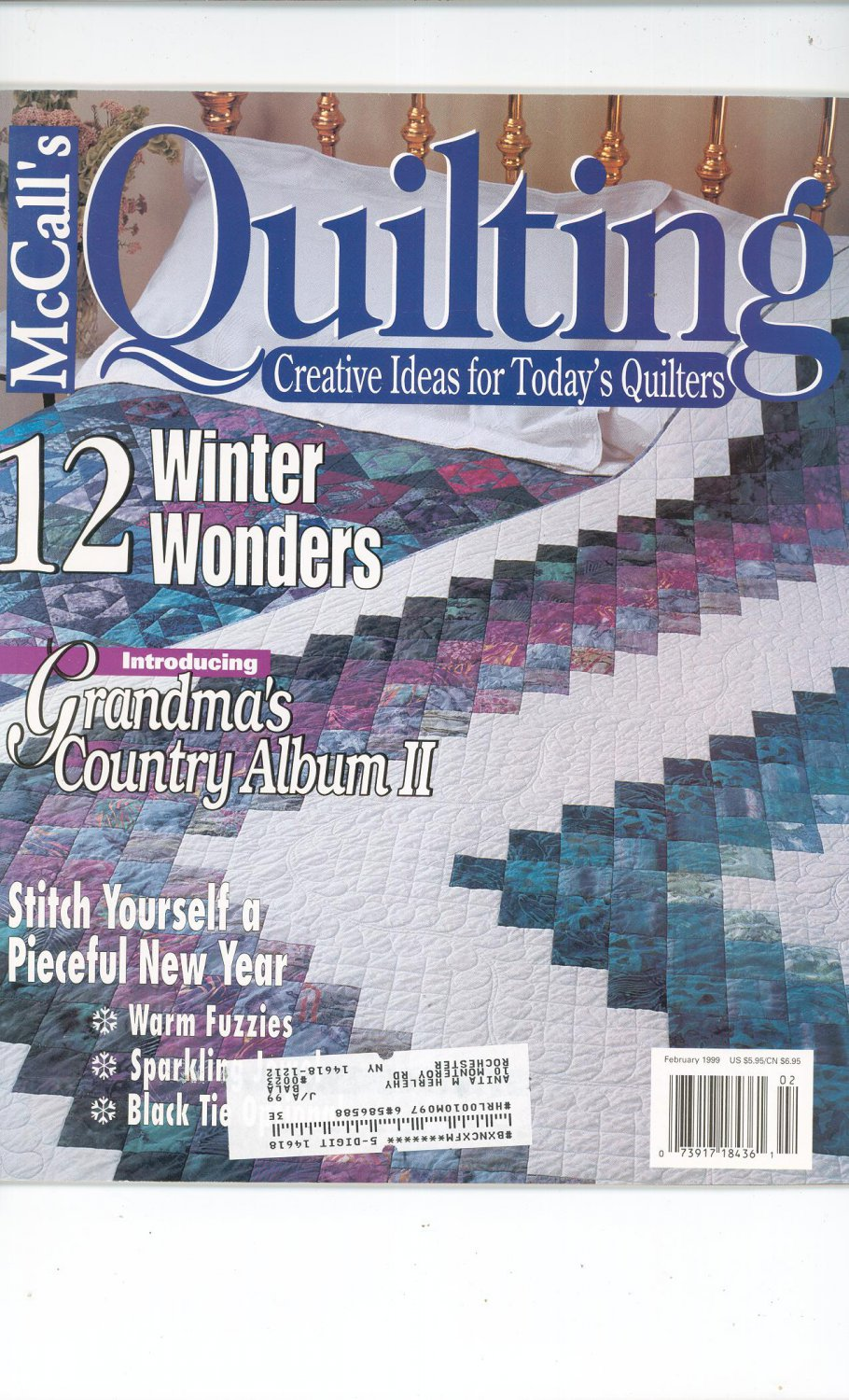 McCall's Quilting Magazine Back Issue February 1999