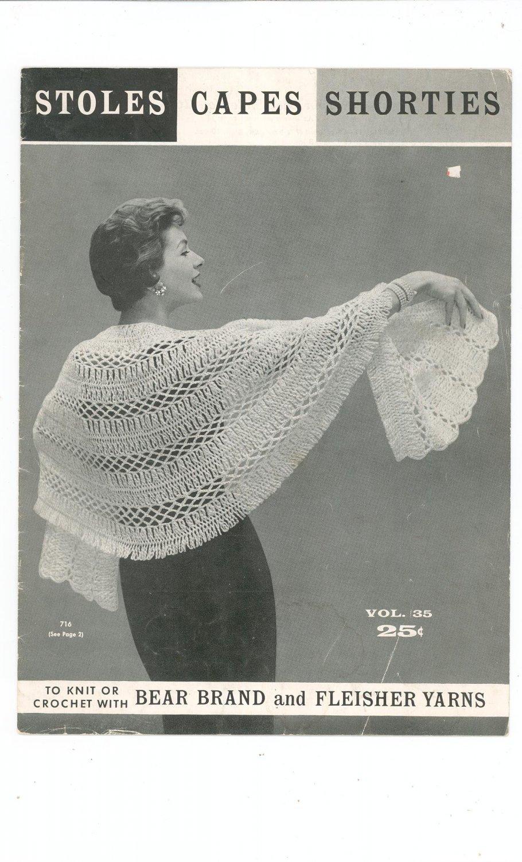 Vintage Stoles Capes Shorties Volume 35 Bear Brand Fleisher Yarns Knit Crochet 1956
