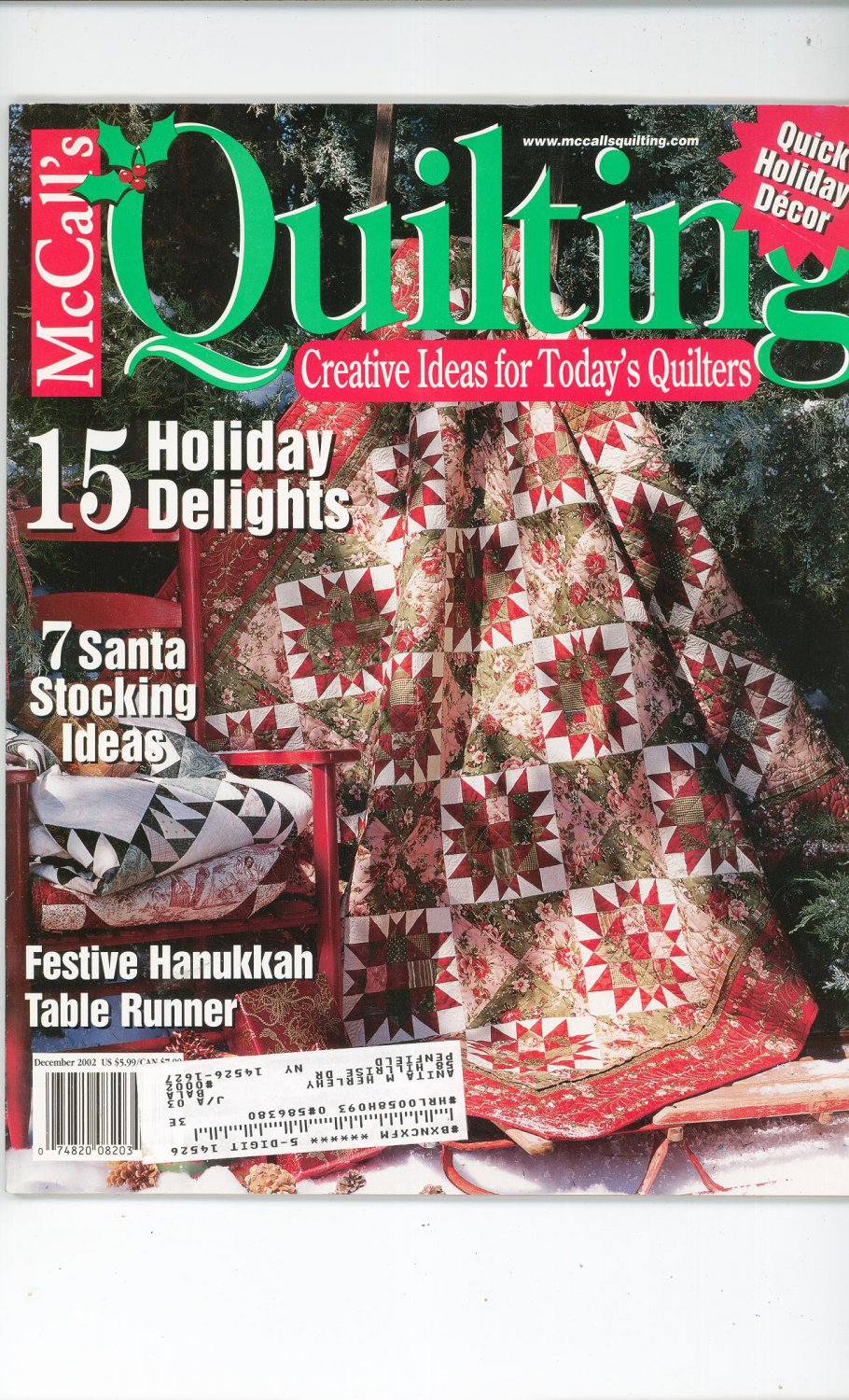 McCall's Quilting Magazine Back Issue December 2002 Quick Holiday Decor