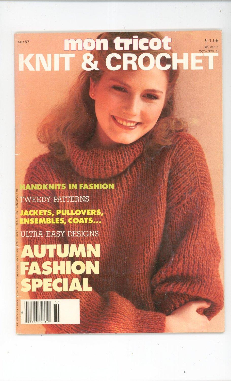 Mon Tricot Knit & Crochet Magazine Back Issue October November 1978