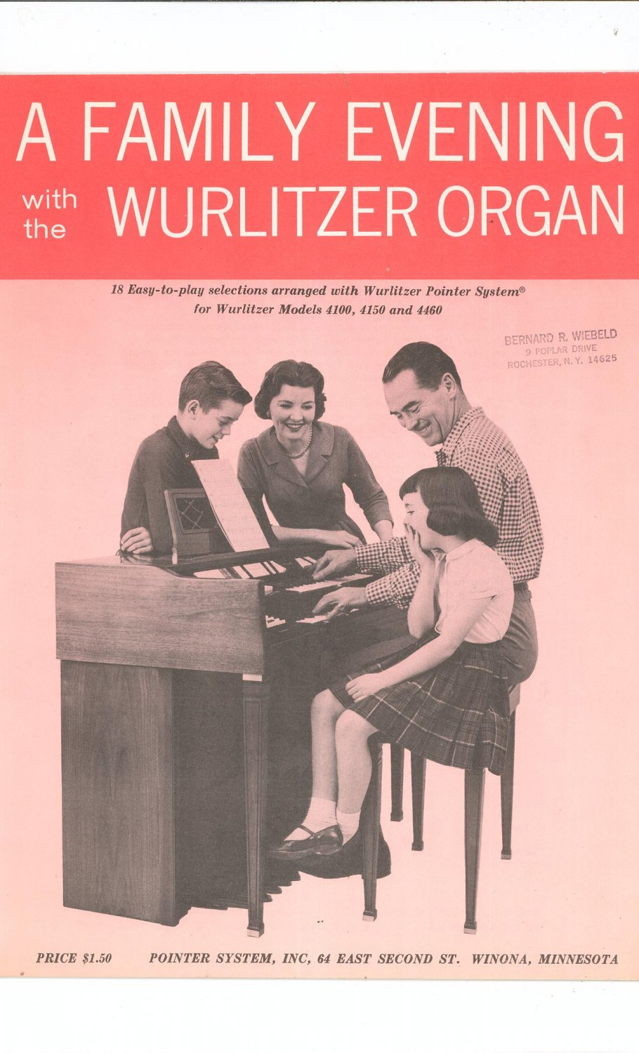 Vintage A Family Evening With The Wurlitzer Organ 1961