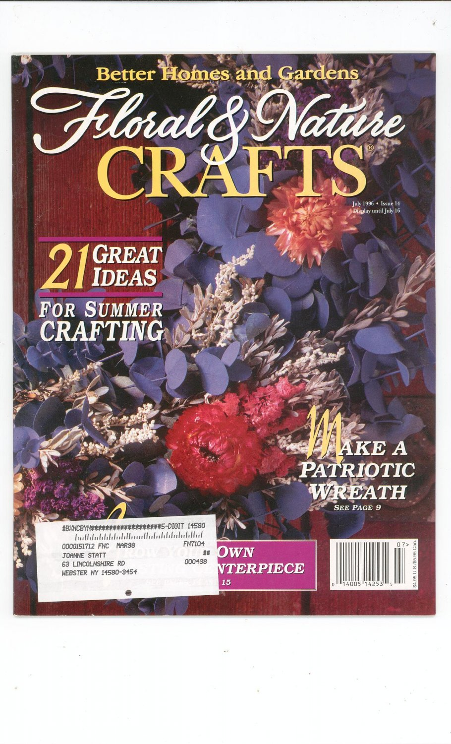 Floral Nature Crafts Magazine July 1996 Better Homes And