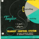Vintage Taylor Instrument Company Transet Control System Catalog / Manual 98097 March 1956