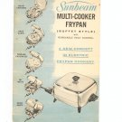Vintage Sunbeam Multi Cooker Frypan Buffet Style Manual With Recipes