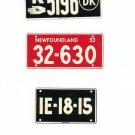 Lot Of 3 Assorted License Plates Miniature Portugal Newfoundland Denmark Vintage
